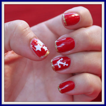 1 Sheet of 36 Anchor and Star Nail Decals by MadeByMunchiesMama