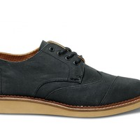 TOMS Shoes Ash Grey Aviator Twill Brogues Men's Dress Shoes,