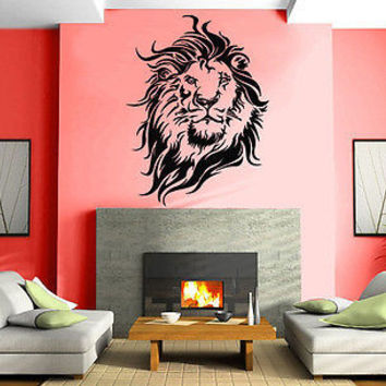 Wall Stickers Vinyl Decal Lion King of the Jungle Big Cat Head Portrait EM085