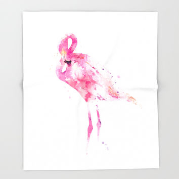 Flamingo Throw Blanket by monnprint