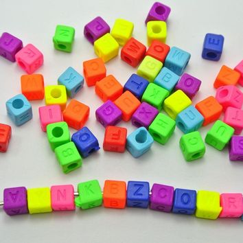 250 Neon Color Acrylic Assorted Alphabet Letter Cube Pony Beads 6X6mm