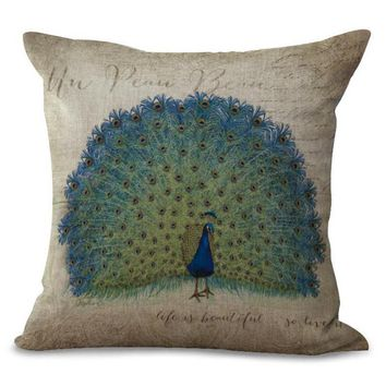 45*45 Cm Home Decorative Retro Peacock Printing Cotton Linen Backrest Waist Pillow Cushion Square For Office Chair