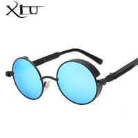 Gothic Steampunk Mens Sunglasses Coating Mirrored Sunglasses Round Circle Sun glasses Retro Vintage Gafas Masculino Sol