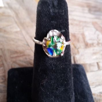 Dichronic glass sterling silver Mexican ring vintage size 7.5