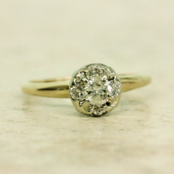 Vintage Engagement Ring Dainty Cluster Ring Diamond Ring 14k Yellow Gold Ring Promise Ring Estate Ring Size 6.25