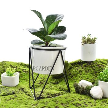 Modern Small Plants Ceramic Flower Pot White Succulent Planter Garden Bonsai Pots Flowerpot Set with Geometric Iron Rack Holder