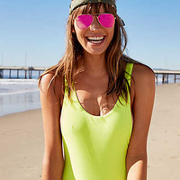 Aerie Super Scoop One Piece Swimsuit , Lemon Lime Infusion