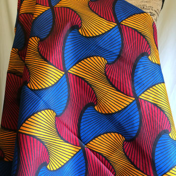 African Wax Print Fabric by the HALF  YARD. Dark Red, Royal Blue, Yellow Geometric Curves--Made in Mali