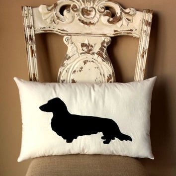 Long Haired Dachshund Dog Silhouette Throw Pillow, Decorative Pillow, Home Decor, Pets, Dog Pillow, Dorm Decor,Sofa Pillow **FREE SHIPPING**
