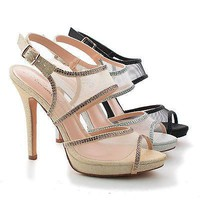 Shuz1 Nude Mesh By Blossom, Mesh & Rhinestone Studded Strappy Stiletto Sling back Sandals