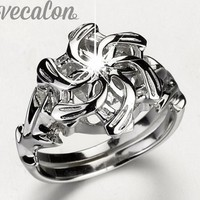Classic Vintage Wedding Band ring for women LOTR The Galadriel Nenya Charm 3ct 5A Zircon 925 Soild Sterling Silver ring