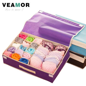 Bra Organizer Storage Drawers Underwear Storage Boxes Non-woven Covered Bra Combo Grid Wardrobes Organizers for Underwears B211