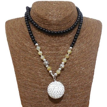 White Beaded Diamond Ball Pendant Necklace