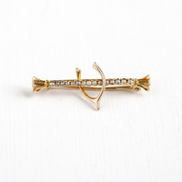 Antique 10k Yellow Gold Wishbone & Seed pearl Bar Pin - Vintage 1900s Victorian Figural Fine Symbolism Good Luck Jewelry