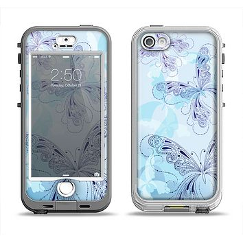 The Light Blue Butterfly Outline Apple iPhone 5-5s LifeProof Nuud Case Skin Set