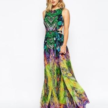Forever Unique | Forever Unique Tropical Mirror Print Maxi Dress With Open Back at ASOS