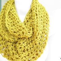 Yellow loop scarf,  cozy crochet cowl,  unisex neck warmer, gift under 40