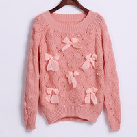 Cute Bow Knitted Sweater