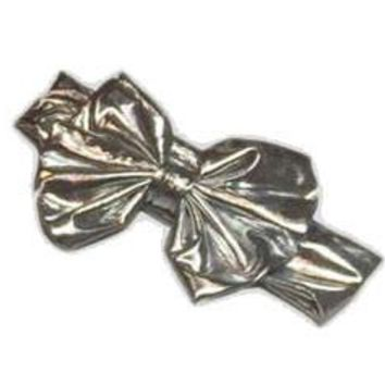 Silver Satin Messy Bow Head Wrap