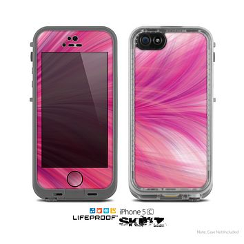 The Abstarct Pink Flowing Feather Skin for the Apple iPhone 5c LifeProof Case
