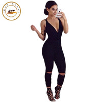 Fashion bandage rompers womens jumpsuit sexy deep v halter straps cross hole women's solid bodysuit overalls combinaison femme