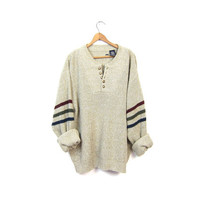 Slouchy Knit Henley Sweater Button Up Oatmeal Boyfriend Pullover Oversized Slouchy Striped 90s Ribbed Knit Sweater Vintage Men's Large