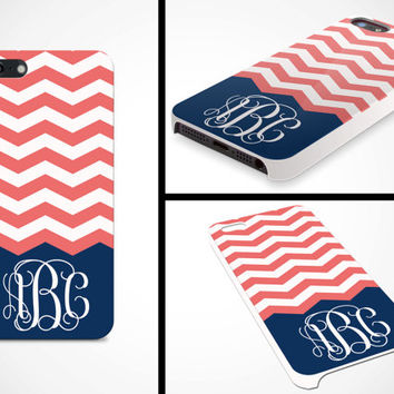 iPhone 5 5s Cell Phone Case Custom Color Chevron Stripe Vine Initial Monogram Girls Apple Personalized Protective Plastic Hard Cover VM-1077