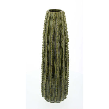 Benzara Large Elaborated Ceramic Vase, Green
