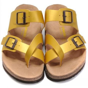 Birkenstock Leather Cork Flats Shoes Women Men Casual Sandals Shoes Soft Footbed Slippers-36