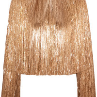 Givenchy - Fringed jacket in gold silk-satin