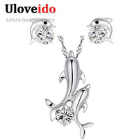 Uloveido Girl Kids Silver Plated Ladies Zirconia Jewelry CZ Diamond Dolphin Necklace Fashion Stud Earrings Set for Women TN324