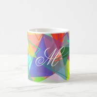 Trendy triangles pattern multicolor monogram coffee mug