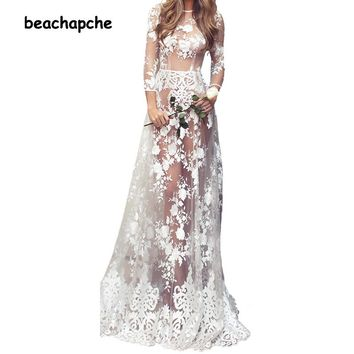 Women Gold Sequined Summer Dress Elegant Spaghetti Strap Embroidery See Through Long Maxi Dress Sexy Open Back Party Dresses