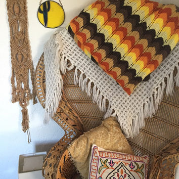 "Burnt Orange Chevron Crochet Blanket | Bohemian 1970s Twin Full Queen multicolor warm tone Throw Bedspread 63 x 38"" Boho   brown mustard tan"