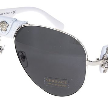 VERSACE Rock Icon Medusa 2150 White Silver Leather VE2150Q Sunglasses by Lady Gaga Limited