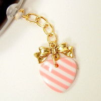 Hime Lolita iPhone Cell Charm Dust Plug Kawaii Heart Pink White Gold Bow Earphone Cover