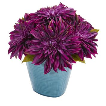 Silk Flowers -11 Inch Purple Dahlia Arrangement In Blue Ceramic Vase