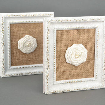 Set of wall panels Eco friendly gift Wall hanging decor Rustic wedding decor Cottage chic Decorative wall panels white roses