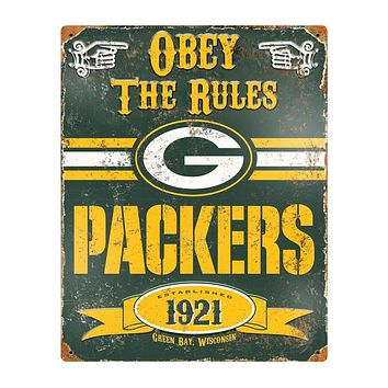 Green Bay Packers Obey the Rules 14x11 Vintage Steel Pub Sign