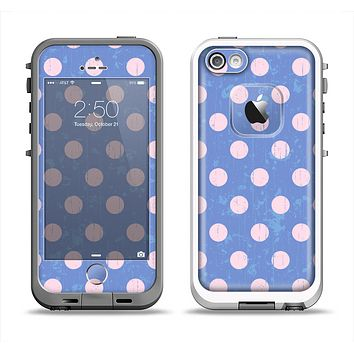 The Vintage Scratched Pink & Purple Polka Dots Apple iPhone 5-5s LifeProof Fre Case Skin Set