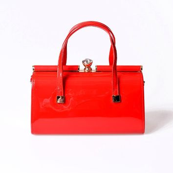 Banned Vintage Style Red Patent Leatherette Top Frame Purse