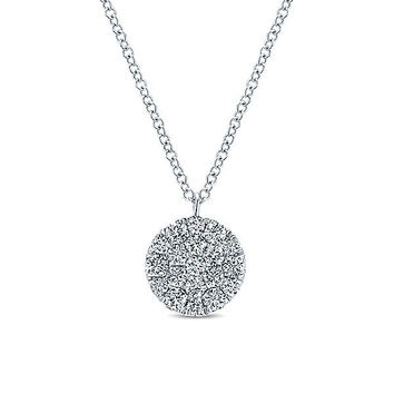 Round Diamond Pave Disc Circle White Gold Necklace