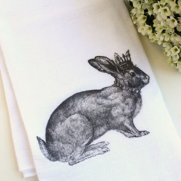 Tea Towel Flour Sack Towel Rabbit Cotton Kitchen Towel Hostess Gift Home Decor Housewares