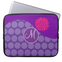 Pretty Purple Polka Dots Wave with Pink Flower Computer Sleeves