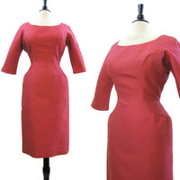 60s Dress Vintage Deep Pink Curvy Wiggle Joan Day to Evening L