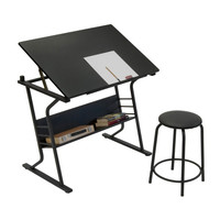 Eclipse Drawing Table with Stool (Black / Black) (30-39.5H x 35.50W x 23.75D)