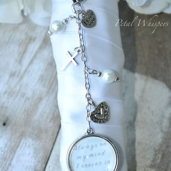 Bridal Bouquet Charm -Wedding Bouquet Photo Charm - Two Sided Bouquet Charm - Bridal Gift - Wedding Memorial Charm - Bridal Keepsake