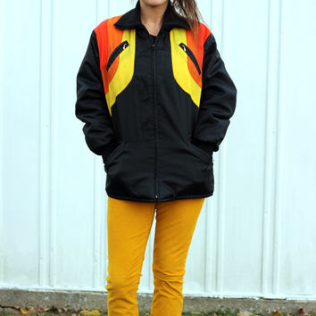 Retro Roy Rainbow Ski Jacket: 1970s Bombardier Vintage Yellow Orange Psychedelic Stripe Full Zip Turtleneck Unisex Black Puffer Coat