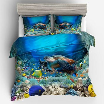 Turtles in the sea 3D Print Bedding Set Comforters coverlets Quilt/Duvet Covers Single Twin Full Queen Super King Size Bed Boys