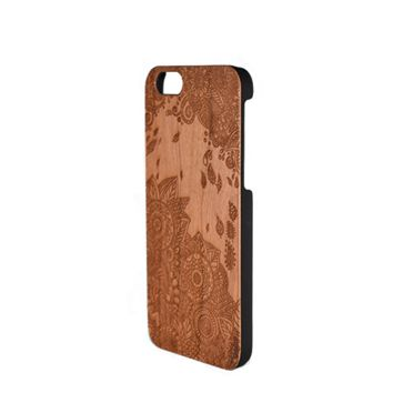 Wood Carved Phone Case - Henna Flowers- iPhone 5/5s/SE, 6, 7